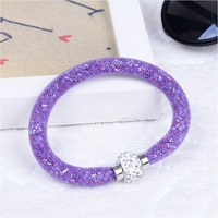 Factory Price! Crystal Stardust Bracelet Mesh Wrap Bracelets With Magnet Clasp Charming Ladies Jewelry Wedding Jewelrys Gift