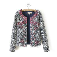 New Fashion 2014 Women Coat Embroidery china style Patterns Print Jackets Women Short Jacket Autumn Coat Women Jacket Plus Size