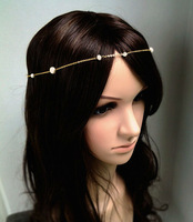 FREE SHIPPING New Style HE40 Unique Design Women Gold Chain Imitation White Pearls Head Chains Jewelry 2 colors