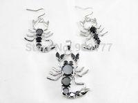 Beautiful Beautiful black crystal Scorpion pendant earring Wholesale silver hook Fine Jewelry sets