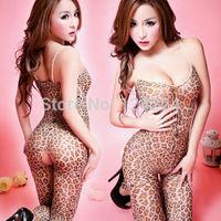 New Sexy Women's Open Crotch Leopard Bodystocking Stocking Lingerie Bodysuit