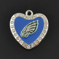 Enamel Philadelphia Eagles crystal heart pendants