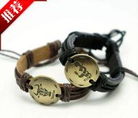 Hot Sale Twelve Constellations Leather Beaded Bracelets