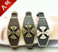 Hot Sale Cross Flower and Cross Leather Beaded Bracelets for Women and Men
