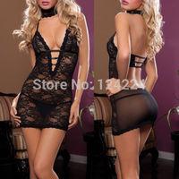Black Women Sexy Lingerie Babydoll Sleepwear Underwear Dress Costume+G-String