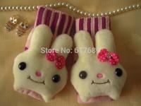 Free shipping lovely Semi-finger gloves female winter thickening yarn rabbit cartoon gloves  winter students gloves