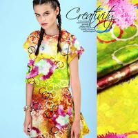 Color Blocking Circle Digital Print Stretch Silk(93%) Satin Fabric  1Meter   19Mommie
