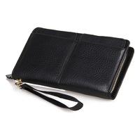 New 2015 Men Wallets Long Design Classic black Brand Genuine Leather business wallet Purse Zipper Coin card holder