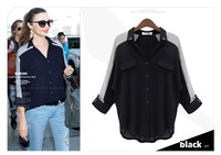 New Batwing Roll up Long Sleeve Loose Casual Chiffon shirt Women's Clothes Blouse Tops
