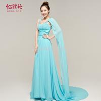 Banquet evening dress formal dress 2014 winter Sky Blue design long evening dress