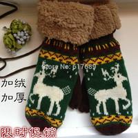 Free shipping Small elk mitten female thermal halter-neck plus velvet knitted yarn full finger gloves