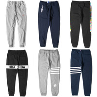 NT000980 Hiphop casual solid color sports stripe hba plus velvet thickening pants