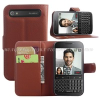 luxury wallet book style leather case for blackberry classic q20 case with card slots holders stand function