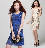 The new club dress, sexy dress Sequins embroidery net yarn show thin waist render dress