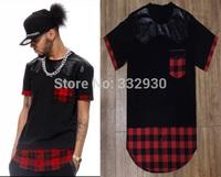 Men t shirt tyga cool Red Tartan Pu Leather Patchwork hip hop extended t-shirt tee top hba jay-z casual lenther tee shirt XXXL
