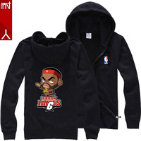 James basketball twist sweater sweater Q cartoon version of James on the 6th cotton zipper hooded sweater