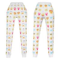 New fashion women's sport jogging leggings pants print emoji loose sweatpants hip hop joggers trousers running gym pants fitness