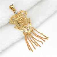 Min.mix order is $10 --Arab MUHAMMAD 9K Gold Filled CZ Unisex Pendant greek nazar allah gold allah moon tassel