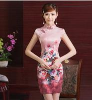 Chinese style dress  national wind short dress  silk dress