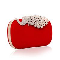 2014  Peacock Clutch Fashion Brand Luxury Crystal Handbag Evening Bag Wedding/Party Purse with Chain Elegant Rose Black