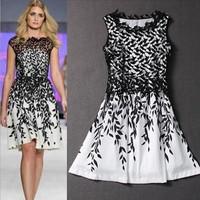 Runway women summer 2015 print black lace chiffon dress plus size casual white sleeveless sundress S ~ XXXL