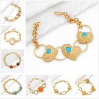 Min.mix order is $10 -- Arab 9K Gold Filled Unisex bracelet plated chain greek nazar diamond charms gold