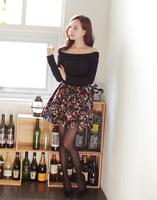 The new  short dress knitting printed stitching long-sleeved dress nightclub dress