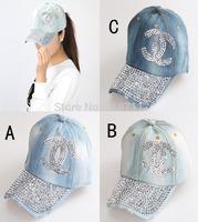 2015 New wholesale Diamond Point X letter denim caps women baseball cap rhinestone Unisex Summer sun hat 5pcs/lot