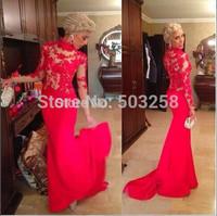DH52 Red Appliqued See Through Satin High Neck  Brazil Evening Dress 2015