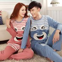 Lovers sleepwear autumn and winter long-sleeve cotton male female couple pajamas women's nightwear cartoon lounge sleep set