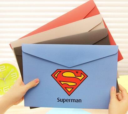 311*222mm/Vintage Creative Super Hero series File bag/DIY Multifunction Green clean up bag/envelope/wholesale(China (Mainland))
