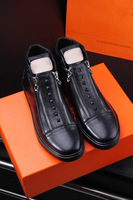 High-end Customized Famous Luxury Brand Winter Men's Ankle Boots Men Fashion H Brand Casual High Top Shoes Black Genuine Leather