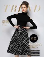 Autumn Winter Fashion Womens Vintage Retro Hepburn Plaided Checkes High Waist A-Line  Midi Skirts Ball Gown