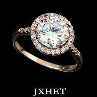 18 k gold plated already & Arrows Ideal cut Swiss Cubic Zirconia Diamond Halo Engagement Ring (JXHET-JZ012)