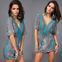 1pcs/lot Women's Plus size V-Neck Short sleeve Batwing Colors Sexy Bohemia flowers print  Summer's dress Beach dress free