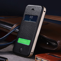 5Color Aluminum Frame Border Genuine Natural Leather Flip Case For iPhone 5 5S Mobile Phone cover,Free Tempered Glass Protector