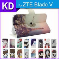 360 Degree Rotate Stand Cool Case PU Leather Universal Cartoon Case + Free Gift For ZTE Blade V