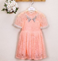 5pieces/lot Summer Kids Girls Pearl Collar and Pearl Sleeve Dress, Girl Lace Dress, BG781