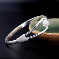 Fashion women romantic cherry silver bangle silver  vintage jewelry bracelet#L10205