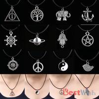12 Style New Tibetan Silver Pendant Necklace Choker Charm Black Leather Cord Design Factory Price Handmade Jewlery