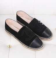 2015 Newest Platform Espadrilles flats shoes CC Canvas Woman's shoes Upgrade straw braid genuine leather shoes