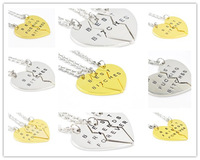 Free Shipping 2015 New Hot Selling Broken Heart Best Bitches Pendant Necklace For Women 3 Three Parts Letter Necklace