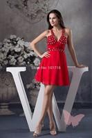 Red sexy V collar prom dress.