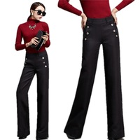 Winter New Jacquard Cotton Straight Pants , Casual Women Trousers , Fashionable Europe and America Wide leg Pants 145