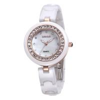 Hot! WEIQIN Luxury Fashion Brand Women Dress Rhinestone Decoration Watches Hardlex Analog Water Resistant Ceramic Quartz Watch