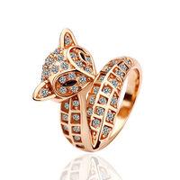 High Quality Free Shipping Fashion Luxury Women Wedding Jewelry 18k Gold Crystal Gem Zircon Female Finger Fox Rings Gifts 18R026