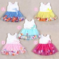 2015  European American style children sleeveless rose petal dress / girls tank dress / kids summer dress