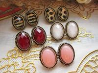 free shipping 2014 vintage wholesale earrings elliptical rotro Leopard stud earrings for women Fashion