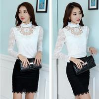 Spring 2015 Listing Korean Fashion Sweet Woman Blouses Ruffled Solid Lace Woman Long Sleeve Chiffon Casual Shirt