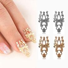 1 conjunto = 10 pcs 3D DIY liga de prata ouro oco Out Art Nail Stickers fatias flor jóias prego brilho grátis frete e transporte da gota